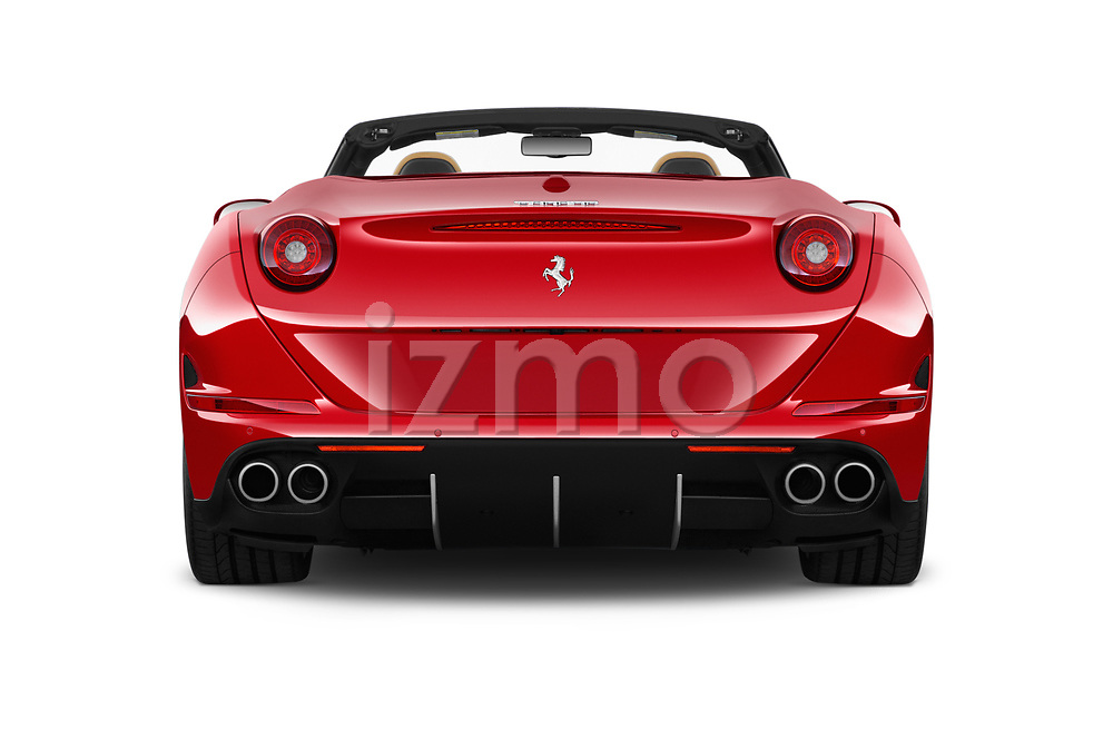 Straight rear view of 2016 Ferrari California-T 2 Door Convertible Rear View  stock images