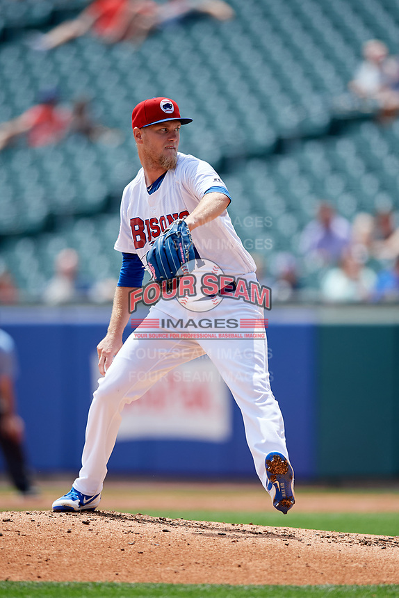 Buffalo Bisons starting pitcher Jon Harris (41) delivers a pitch during a game against the Pawtucket Red Sox on June 28, 2018 at Coca-Cola Field in Buffalo, New York.  Buffalo defeated Pawtucket 8-1.  (Mike Janes/Four Seam Images)