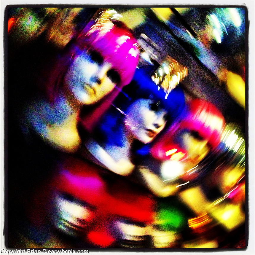 Wig Shop store window disply, Ahseville, NC, iPhone photo from the instagram photostream of bcpix. (Photo by Brian Cleary/www.bcpix.com)