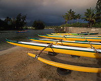 Yellow Hawaiian Outrigger Canoes, Kailua Beach Park, Oahu, Hawaii, USA.