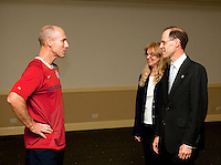 Bob Bradley visited by the U.S. Embassy's chargé d'affaires, Robert Blau, and his wife, Carmen at the U.S. Embassy in El Salvador on March 27, 2009.