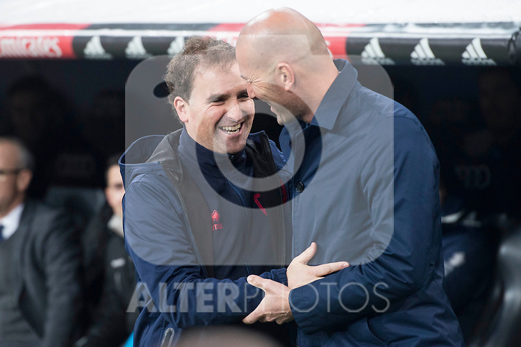 Real Madrid coach Zinedine Zidane and CD Numancia coach Jagoba Arrasate during King's Cup match between Real Madrid and CD Numancia at Santiago Bernabeu Stadium in Madrid, Spain. January 10, 2018. (ALTERPHOTOS/Borja B.Hojas)