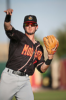 Forrest Wall (7) of the Modesto Nuts throws before a game against the Lancaster JetHawks at The Hanger on June 7, 2016 in Lancaster, California. Lancaster defeated Modesto, 3-2. (Larry Goren/Four Seam Images)