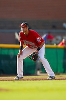 Hickory Crawdads third baseman Joey Gallo (30) on defense against the Kannapolis Intimidators at L.P. Frans Stadium on May 25, 2013 in Hickory, North Carolina.  The Crawdads defeated the Intimidators 14-3.  (Brian Westerholt/Four Seam Images)