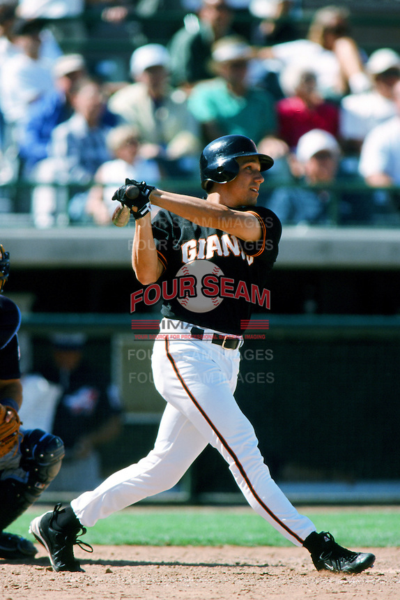Dan McKinley of the San Francisco Giants bats during a 1999 Major League Baseball Spring Training Game in Phoenix, Arizona. (Larry Goren/Four Seam Images)