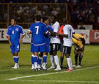 Jozy Atidore (9) and Ramon Sánchez (7) in an argument during FIFA World Cup qualifier against El Salvador. USA tied El Salvador 2-2 at Estadio Cuscatlán Stadium in El Salvador on March 28, 2009.