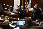 Gov. Brian Sandoval administration officals, from left Rudy Malfabon, Steve Hill and Mike Willden testify before the Nevada Senate Committee of the Whole at the Legislative Building in Carson City, Nev., on Thursday, Dec. 17, 2015. Lawmakers continue to hear details of a bill that would give Faraday Future hundreds of millions of dollars in tax credits and abatements. Cathleen Allison/Las Vegas Review-Journal