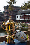 The Webb Ellis Cup is pictured as part of the Rugby World Cup Trophy Tour, delivered in partnership with Land Rover and DHL ahead of Rugby World Cup 2015 on December 12, 2014 in Shanghai, China. Photo by Jerome Favre / Power Sport Images