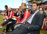 Head coach of D.C. United Ben Olsen waits for the start of a game against Real Salt Lake during the first half of the U.S. Open Cup Final on October  1, 2013 at Rio Tinto Stadium in Sandy, Utah.