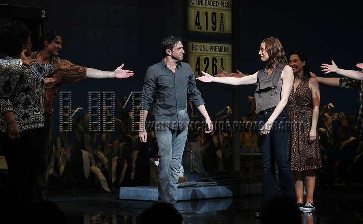 Raul Esparza & Jessica Phillips & Company.during the Broadway Opening Night Curtain Call for the 'Leap Of Faith' at the St. James Theatre on 4/26/2012 in New York City.