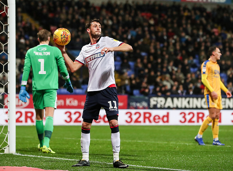 Bolton Wanderers' Will Buckley <br /> <br /> Photographer Andrew Kearns/CameraSport<br /> <br /> The EFL Sky Bet Championship - Bolton Wanderers v Wigan Athletic - Saturday 1st December 2018 - University of Bolton Stadium - Bolton<br /> <br /> World Copyright © 2018 CameraSport. All rights reserved. 43 Linden Ave. Countesthorpe. Leicester. England. LE8 5PG - Tel: +44 (0) 116 277 4147 - admin@camerasport.com - www.camerasport.com