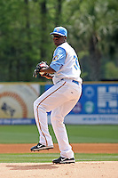 Myrtle Beach Pelicans pitcher Kennil Gomez #30 on the mound during a game against the Wilmington Blue Rocks at BB&T Coastal Field in Myrtle Beach, South Carolina on April 10, 2011.  Photo By Robert Gurganus/Four Seam Images