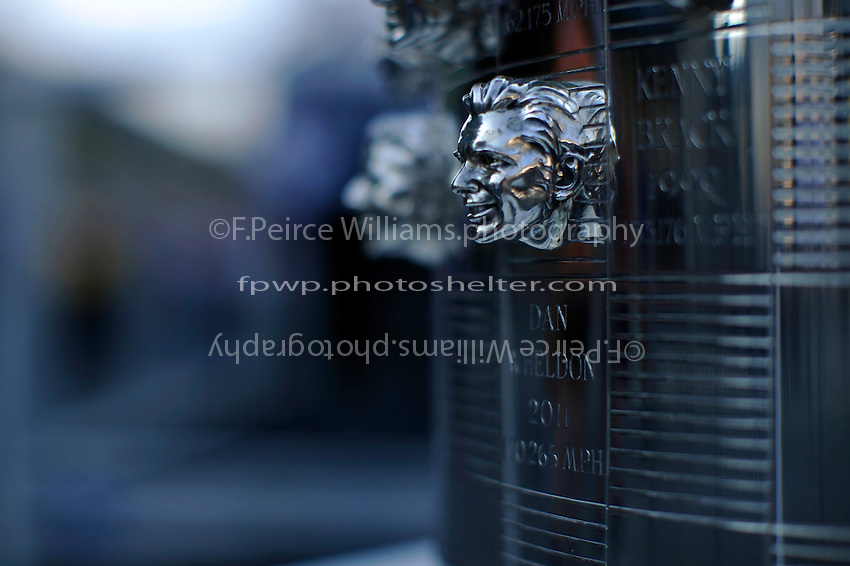 The likeness of 2011 Indianapolis 500 Winner Dan Wheldon on the Borg-Warner Trophy.
