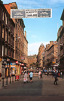 Glasgow:  Street scene.  Banner across street. Photo '90.