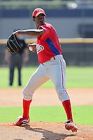 Lisalberto Bonilla (39) Pitcher for the GCL Phillies delivers a pitch during a game on June 26, 2010 against the GCL Yankees at the Yankees Training Complex in Tampa, The GCL Phillies are the Gulf Coast Rookie League affiliate of the Philadelphia Phillies. Photo By Mark LoMoglio/Four Seam Images