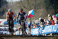 Clement Venturini (FRA) overtakes Stan Godrie (NLD) for the lead in the race<br /> <br /> Men U23 race<br /> <br /> 2015 UCI World Championships Cyclocross <br /> Tabor, Czech Republic