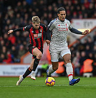 Bournemouth's David Brooks (left) battles for possession with Liverpool's Virgil van Dijk (right) <br /> <br /> Photographer David Horton/CameraSport<br /> <br /> The Premier League - Bournemouth v Liverpool - Saturday 8th December 2018 - Vitality Stadium - Bournemouth<br /> <br /> World Copyright © 2018 CameraSport. All rights reserved. 43 Linden Ave. Countesthorpe. Leicester. England. LE8 5PG - Tel: +44 (0) 116 277 4147 - admin@camerasport.com - www.camerasport.com