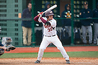 Andrew Mogg (30) of the Virginia Tech Hokies at bat against the Toledo Rockets at The Ripken Experience on February 28, 2015 in Myrtle Beach, South Carolina.  The Hokies defeated the Rockets 1-0 in 10 innings.  (Brian Westerholt/Four Seam Images)