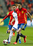 Spain's Sergio Busquets (r) and Israel's Daniel Einbinder during FIFA World Cup 2018 Qualifying Round match. March 24,2017.(ALTERPHOTOS/Acero)