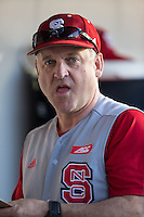 North Carolina State Wolfpack head coach Elliott Avent (9) during the game against the Charlotte 49ers at BB&T Ballpark on March 31, 2015 in Charlotte, North Carolina.  The Wolfpack defeated the 49ers 10-6.  (Brian Westerholt/Four Seam Images)