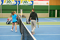 20131201,Netherlands, Almere,  National Tennis Center, Tennis, Winter Youth Circuit, warming up with coach<br /> Photo: Henk Koster