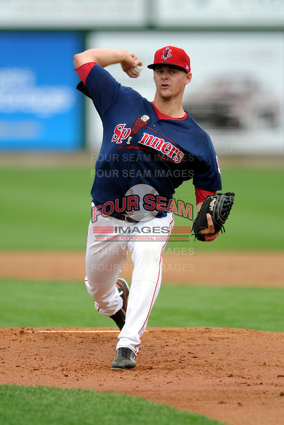 Lowell Spinners pitcherJustin Haley #31 during a game versus the Hudson Valley Renegades at LeLacheur Park in Lowell, Massachusetts on August 19, 2012. (Ken Babbitt/Four Seam Images)