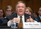 CIA Director Mike Pompeo testifies on his nomination to be United States Secretary of State before the US Senate Committee on Foreign Relations on Capitol Hill in Washington, DC on Thursday, April 12, 2018.<br /> Credit: Ron Sachs / CNP