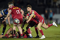 Niall Saunders of Harlequins A passes the ball. Aviva A-League match, between Bath United and Harlequins A on March 26, 2018 at the Recreation Ground in Bath, England. Photo by: Patrick Khachfe / Onside Images