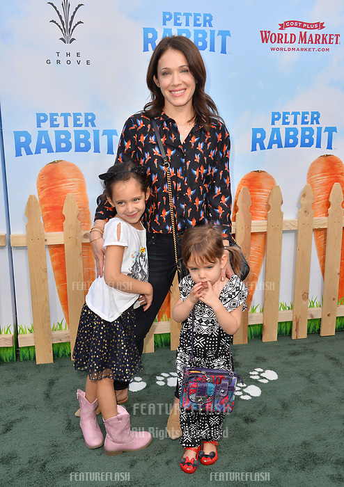 Marla Sokoloff, Elliotte Anne Puro &amp; Olive Mae Puro at the world premiere for &quot;Peter Rabbit&quot; at The Grove, Los Angeles, USA 03 Feb. 2018<br /> Picture: Paul Smith/Featureflash/SilverHub 0208 004 5359 sales@silverhubmedia.com