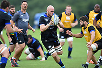 Matt Garvey of Bath Rugby in possession. Bath Rugby pre-season training session on July 28, 2017 at Farleigh House in Bath, England. Photo by: Patrick Khachfe / Onside Images