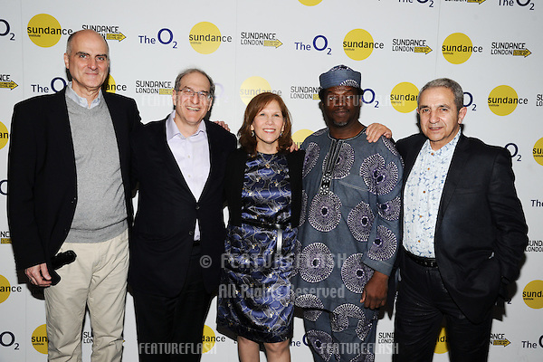 """Jack Gulick, Stephen Hendel, Ruth Hendel, Dele Sosimi and Rikki Stein at the screening of """"Finding Fela"""" as part of Sundance London 2014, O2 arena, London. 25/04/2014. Picture by: Steve Vas / Featureflash"""