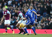 Maikel Kieftenbeld of Birmingham City wins the ball against Christopher Samba of Aston Villa <br /> <br /> Photographer Leila Coker/CameraSport<br /> <br /> The EFL Sky Bet Championship - Aston Villa v Birmingham City - Sunday 11th February 2018 - Villa Park - Birmingham<br /> <br /> World Copyright &copy; 2018 CameraSport. All rights reserved. 43 Linden Ave. Countesthorpe. Leicester. England. LE8 5PG - Tel: +44 (0) 116 277 4147 - admin@camerasport.com - www.camerasport.com