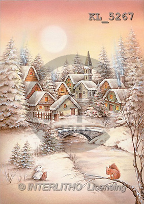 Interlitho, Isabella, CHRISTMAS LANDSCAPE, paintings, village, squirrel(KL5267,#XL#) Landschaften, Weihnachten, paisajes, Navidad, illustrations, pinturas