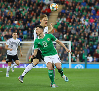 Marcel Halstenberg (Deutschland Germany) gegen Corry Evans (Nordirland, Northern Ireland) - 09.09.2019: Nordirland vs. Deutschland, Windsor Park Belfast, EM-Qualifikation DISCLAIMER: DFB regulations prohibit any use of photographs as image sequences and/or quasi-video.