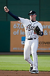 Reno Aces second baseman Rusty Ryal throws the ball against the Las Vegas 51s on Thursday night, May 3, 2012 in Reno, Nevada.