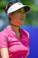Michelle Wie (USA) is happy with her tee shot on 2 during Saturday's round 3 of the 2017 KPMG Women's PGA Championship, at Olympia Fields Country Club, Olympia Fields, Illinois. 7/1/2017.<br />