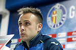 Getafe's Juan Cala in press conference after La Liga match. March 18,2016. (ALTERPHOTOS/Acero)