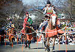 "Dressed in ornate period costume, members of the Toyama-ryu ""yabusame"" horseback archery group ride their horses along the course during a yabusame ritual in Machida, western Tokyo, Japan on Nov. 28 2010. During the late Heian era (794 to 1185) and Kamakura era (1185-1333) such archery was the domain of high-ranked samurai and was used as a military training exercise to keep samurai prepared for war. .Photographer: Robert Gilhooly"