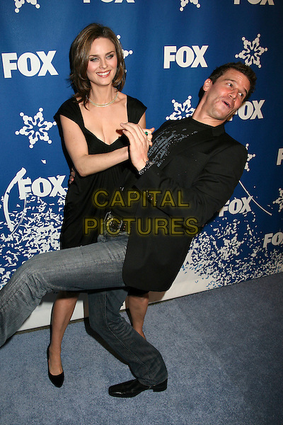 DAVID BOREANEZ & EMILY DESCHANEL.The Fox All-Star Winter 2007 TCA Press Tour Party at Villa Sorriso, Pasadena, California, USA, .20 January 2007..full length funny holding dancing.CAP/ADM/BP.©Byron Purvis/AdMedia/Capital Pictures.