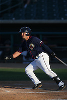 Jack Mayfield (2) of the Lancaster JetHawks bats during a game against the Visalia Rawhide at The Hanger on June 16, 2015 in Lancaster, California. Lancaster defeated Visalia, 11-3. (Larry Goren/Four Seam Images)