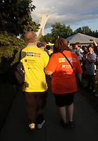 Montreal (QC) CANADA - June 8 2012 -  Relai pour la vie de la Societe canadienne du cancer  2012 - Montreal-Centre au Parc Maisonneuve<br /> - Pemier tour des survivants - survivors first lap