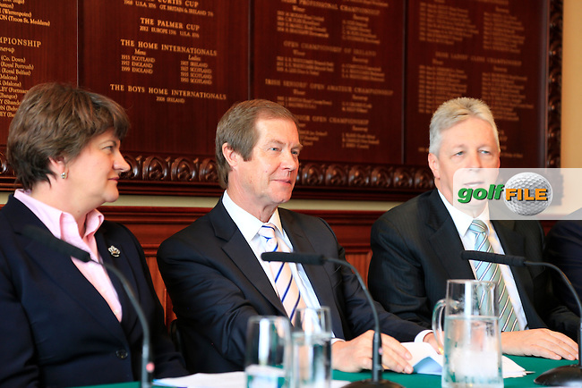 European Tour CEO George O'Grady, (centre) Arleen Foster Enterprise, Trade and Investment Minister, Rt. Hon. Peter robinson First Minister MLA at the Irish Open 2015 announcement, Royal County Down Golf Club, Newcastle, Down,Ireland.<br /> Picture: Fran Caffrey www.golffile.ie