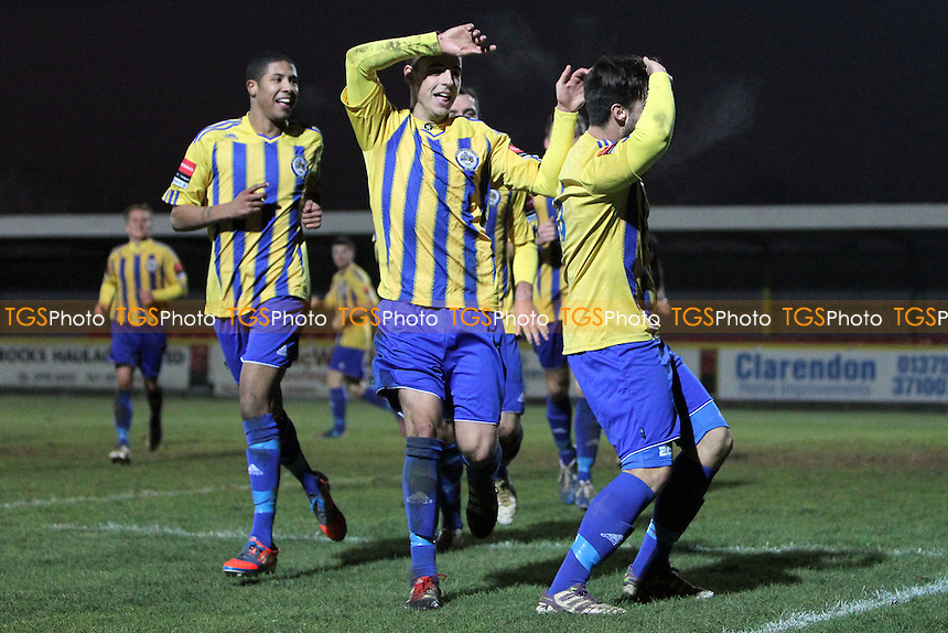 Matt Toms scores the second goal for Romford and celebrates with his team mates - Romford vs Aveley - Ryman League Division One North Football at Ship Lane, Thurrock FC - 08/12/12 - MANDATORY CREDIT: Gavin Ellis/TGSPHOTO - Self billing applies where appropriate - 0845 094 6026 - contact@tgsphoto.co.uk - NO UNPAID USE.
