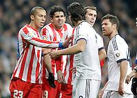 Real Madrid's Sami Khedira and Xabi Alonso argue Atletico de Madrid's Miranda, Diego Costa and Diego Godin during La Liga Match. December 02, 2012. (ALTERPHOTOS/Alvaro Hernandez)