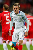 Jamie Vardy (Leicester City) of England during the FIFA World Cup qualifying match between England and Malta at Wembley Stadium, London, England on 8 October 2016. Photo by David Horn / PRiME Media Images.