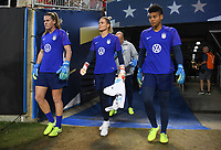 CHARLOTTE, NC - OCTOBER 03: Alyssa Naeher #1, Ashlyn Harris #18 and Adrianna Franch #21 of the United States walk out to warm up prior to their game versus Korea Republic at Bank of American Stadium, on October 03, 2019 in Charlotte, NC.