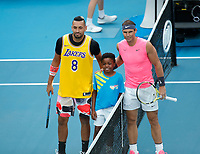 27th January 2020; Melbourne Park, Melbourne, Victoria, Australia; Australian Open Tennis, Day 8; Nick Kyrgios of Australia and Rafael  Nadal of Spain at the net before their game