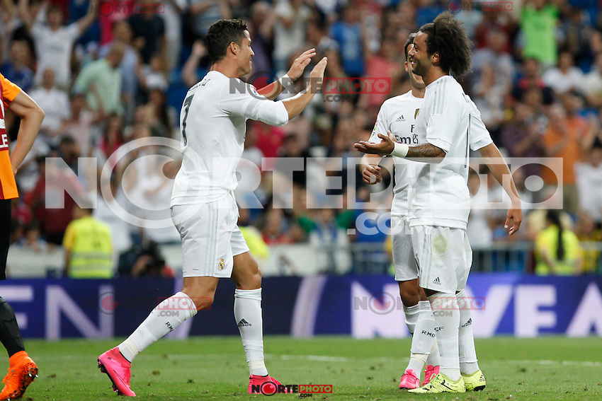 Real Madrid´s players celebrate Marcelo Vieira´s goal during Santiago Bernabeu Trophy match at Santiago Bernabeu stadium in Madrid, Spain. August 18, 2015. (ALTERPHOTOS/Victor Blanco)