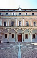 Urbino:  Ducal Palace--Court, elevation.  Photo '83.