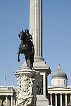 Statue of King Charles I ( 1st ) and Nelson's Column with the National Gallery in the background, London UK